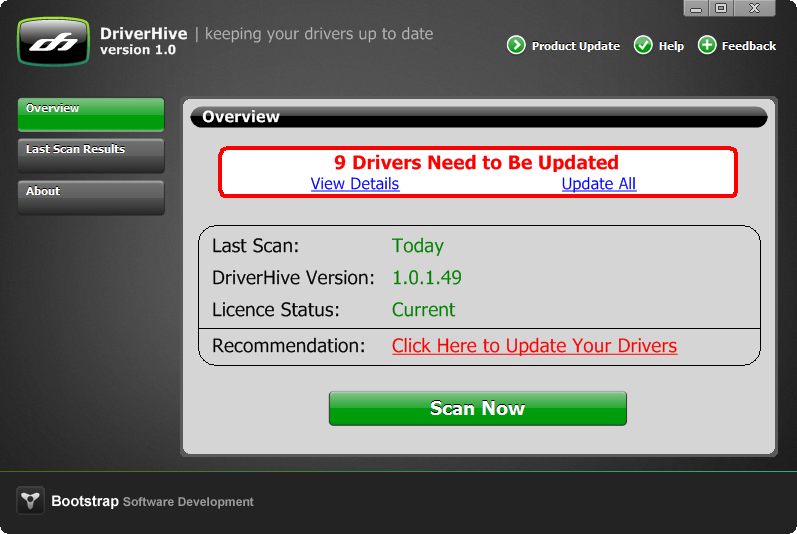 DriverHive screenshot: DriverHive, Drivers up to date, Device drivers, Driver Scan, driver conflict, out of date driver, windows driver, driver cleaner